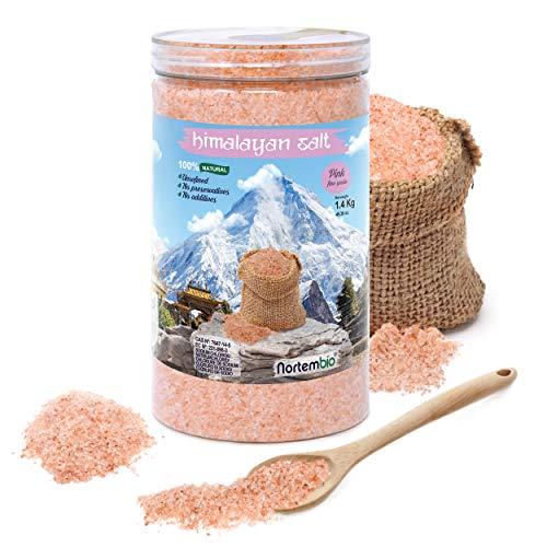 Nortembio Sal Rosa del Himalaya 1,4 Kg. Fina (1-2 mm). 100% Natural. Sin Refinar. Sin Conservantes. Extraída a Mano en Punjab, Pakistán.