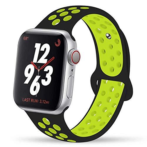 VIKATech Für Apple Watch Armband 42mm 44mm, Weiche Silikon Ersatz Armbänder für iWatch Armband Series 5/4/3/2/1, Sport, Edition, S/M, Schwarz/Volt