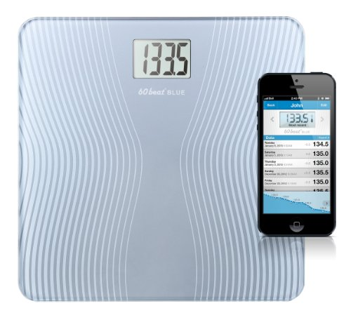 60beat Blue Bathroom Scale for iPhone 6, 6 Plus, 5, 5s, 5c, 4s and Most iPads