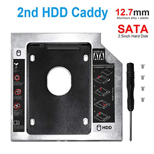 DEEPFOX Hard Drive Caddy Tray 2.5 inch 2nd SSD HDD Caddy Enclosure Universal SATA Hard Drive Caddy Adapter Tray Enclosures for laptop with 9.5mm Optical Drive slot (12.7mm caddy)