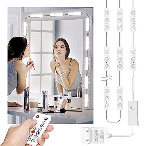Wobsion led spiegelleuchte dimmbar mit 60 leds,spiegel led beleuchtung,schminklicht für spiegel,6000K spiegel licht,2.7m spiegellicht,IP65