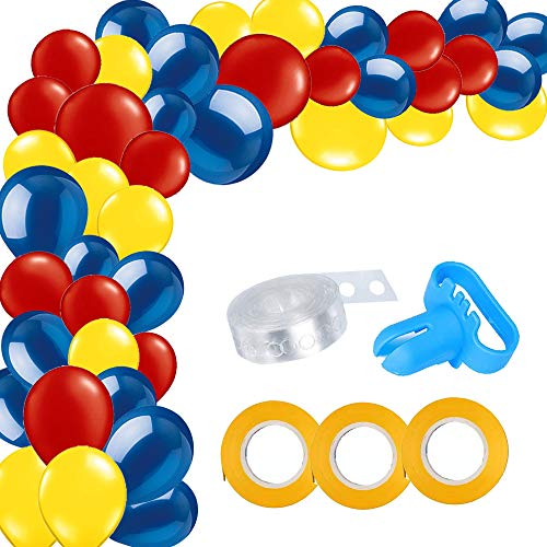 115 Pack Blue Red Yellow Balloon Arch and Garland Kit-115pcs Latex Balloons, 16 Feets Arch Balloon Strip Tape, Balloon Tying Tool for Wonder Woman Party Spiderman Superhero Birthday Baby Shower Decor