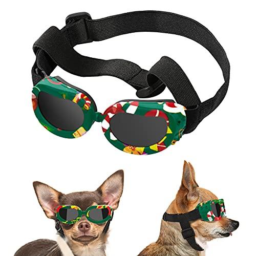Lewondr Gafas de Sol para Mascotas, Anteojos Anti-Ultravioleta Niebla Polvo Correa Ajustable Elástica Gafas Protectoras para Perros Pequeños Fiesta Playa Viajar Tomar Fotos, Verde Navidad
