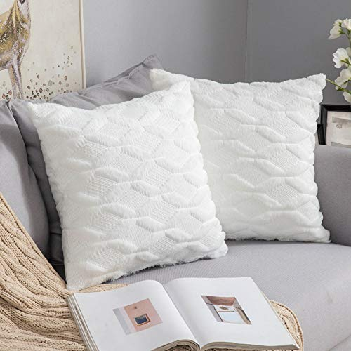 MIULEE Pack of Two Cushion Cover Wool Throw Pillow Case Decorative Elegant With Plush Home for Sofa Bedroom Living Room Protector 45 x 45cm 18 x 18 Inch White
