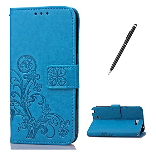 Feeltech for Samsung Galaxy Note 2 PU Leder Hülle- Klee-Blau