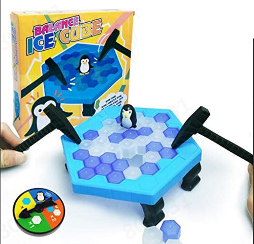 CUEYU Pinguin Trap Tischspiel Desktop Spiel,Save Penguin Crashed Ice Puzzle Tischspiele Knock Ice Cubes Block Balance Brettspiel, Desktop Paternity Interactive Game