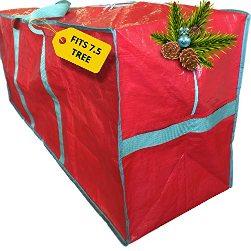 Christmas Tree Storage Bag - Extra Large Xmas Tote Fits 7.5 ft Artificial Fake Tree - Modern Holiday Storage