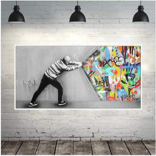Surfilter impression sur toile Graffiti Art mur photos pour salon derrière le rideau Street Art peintures sur toile sur le mur affiche 23.6\
