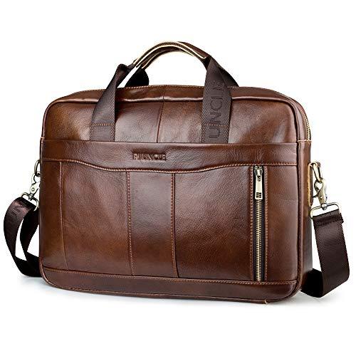 BAGZY Vintage Herren Leder Laptoptasche 15.6 Zoll Businesstasche Aktentasche Ledertasche Arbeitstasche Brieftasche Handtasche Crossbody Umhängetasche Schultertasche Messenger Bag Braun