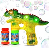 Haktoys Jurassic Dinosaur Bubble Gun Shooter Light Up Blower | Toy Bubble Blaster for Toddlers, Kids, Parties | LED Flashing Lights, Extra Refill Bottle, Sound-Free, Batteries Included