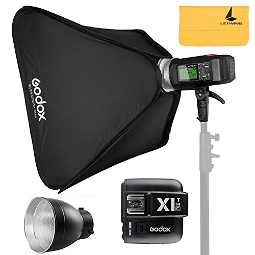 GODOX AD600BM 600Ws Bowens Mount GN87 1/8000 HSS Outdoor Flash Strobe Monolight+GODOX X1T-C TTL Wireless Transmitter Compatible for Canon Cameras,AD-R6,80cmX80cm /32'X32'Softbox