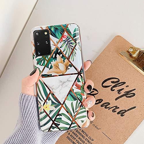 MoreChioce compatible avec Coque Samsung Galaxy S20 Plus,Coque Galaxy S20 Plus Marbre Or,Premium Géométrie Fleur Strass Glitter Silicone Housse de Pro