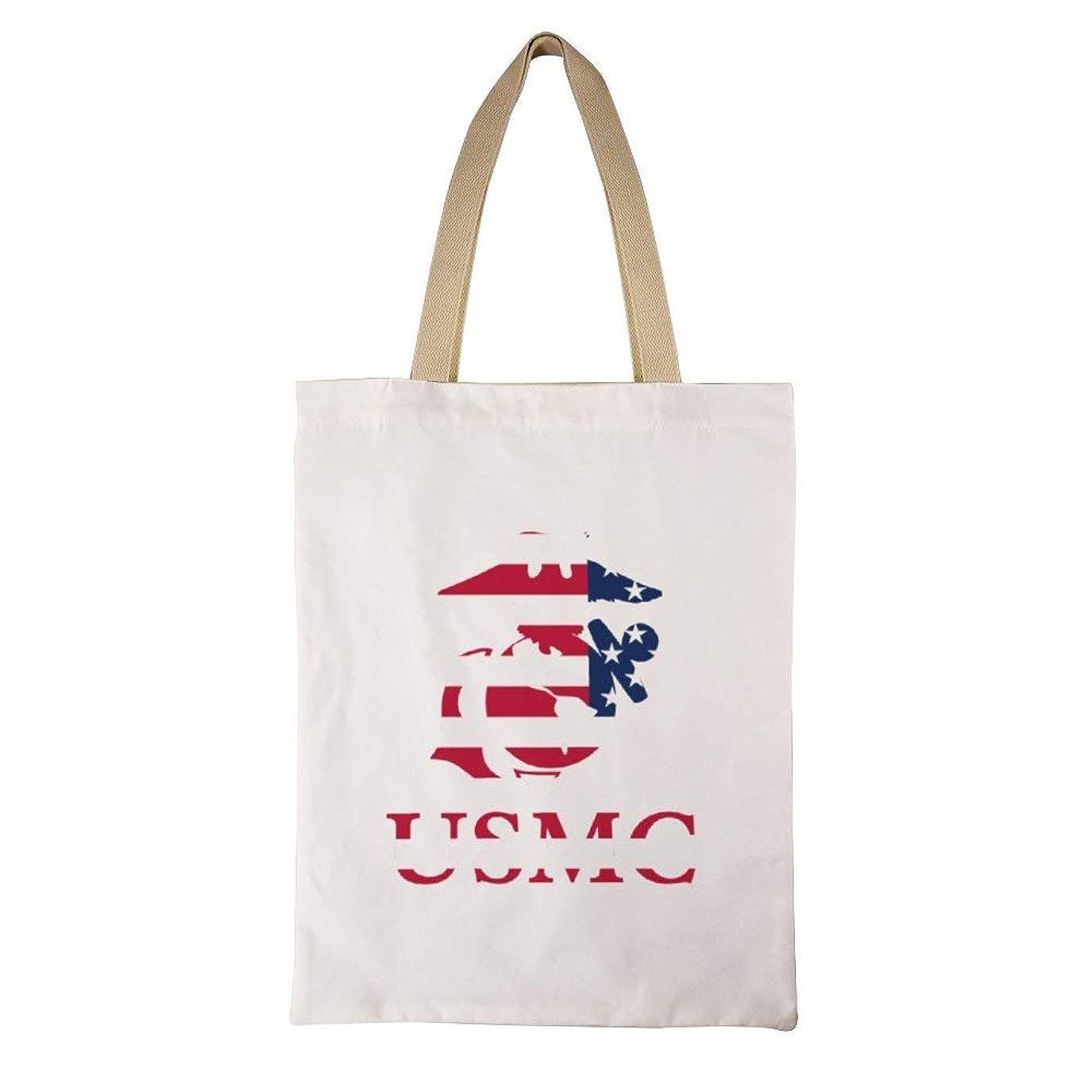 トラックディスカウントアナロジーMarine Corps USMC Logo レディース キャンバストートバッグ ハンドバッグキャンバスショルダーバッグ通勤通学 大容量 軽量
