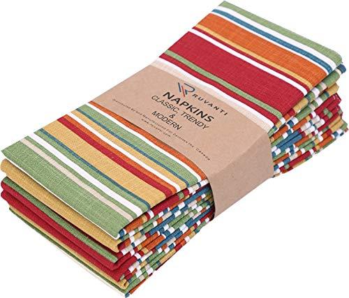 "Ruvanti Table Cloth Napkins 6 Pack(100% Cotton 18"" X 18"") Dinner Napkins,Soft & Comfortable Cotton Napkins. Multi Color Luxurious Linen Napkins/Fabric Napkins for Christmas/Thanksgiving Dinners."
