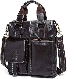 YXHM AU Men's One-Shoulder Business Handbag Side Cowhide Genuine Leather Men's Bag (Color : Deep Coffee)