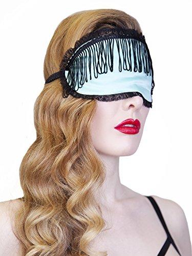 Speelse Beloften Womens dames Mint Eye masker met zwarte kwastjes reizen slapen