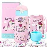 AYUQI Unicorno Rosa Bottiglia d'Acqua per Ragazze, lavoretti creativi per Bambini, Borraccia con Strass Adesivi Gemma Glitter! Handmade Artigianato DIY Ornamenti Regalo per Ragazze 4 5 6 7 8 Anni