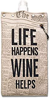 Capabunga 2455 Tote+Able Canvas Canteen, 25-Ounce, Life Happens, Wine Helps