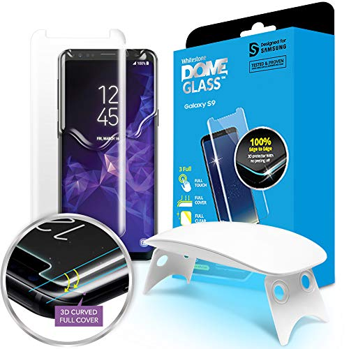 Galaxy S9 Screen Protector, [Dome Glass] Full Coverage 3D Curved Tempered Glass Shield [Liquid...