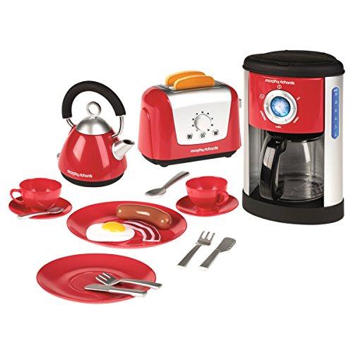 Casdon Little Cook Morphy Richards 647 - Küchen-Spielzeug-Set mit Wasserkocher, Toaster & Kaffeemaschine - inkl. Geschirr & Spiel-Lebensmittel