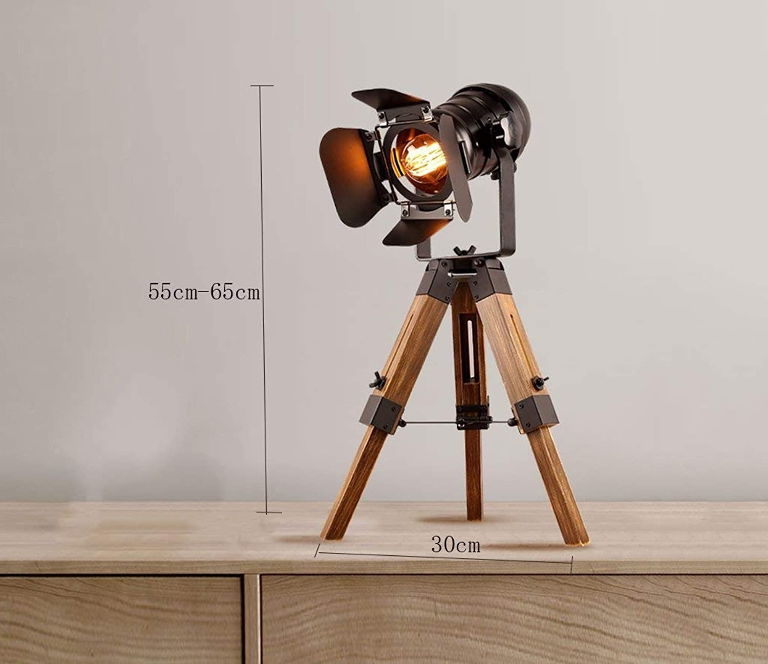 Loft Industrial Wind Table Lamp, Study Living Room Tripod Iron Can Lift up and Down Power Switch Button Bedroom Lamp Energy Saving and Environmental Predection Modern, ChuanHan