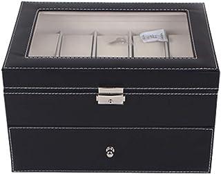 Watch 2 Layers Leather Watch Jewellery Display Storage Watch Box- 20 Slots, Fashion Watch (Color : Black)
