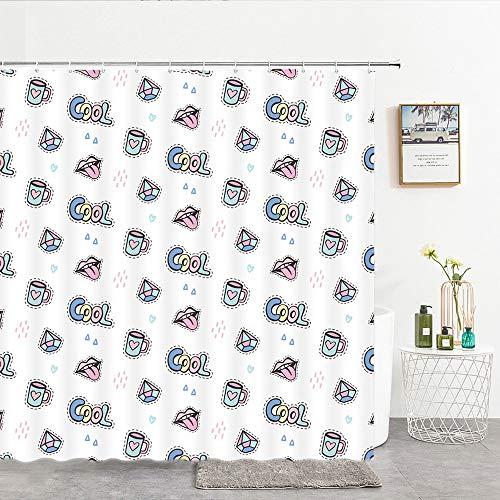 XCBN Cortinas de baño de Mujer Ganchos a Prueba de Agua decoración del hogar Simple decoración de Ducha de baño A3 90x180cm