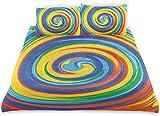Vivos Remolinos Remolino Arco Iris Coloreado Mano Ilustraciones Dibujadas con Ilusiones Ópticas,Juego de Ropa de Cama con Funda nórdica de Microfibra y 2 Funda de Almohada - 240 x 260 cm