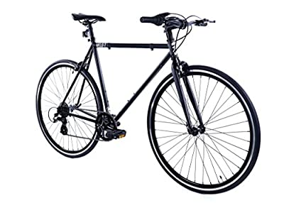 Golden Cycles Velo-7 Hybrid Bicycle, 7 Speed with Front & Rear Brake (Black, 55)