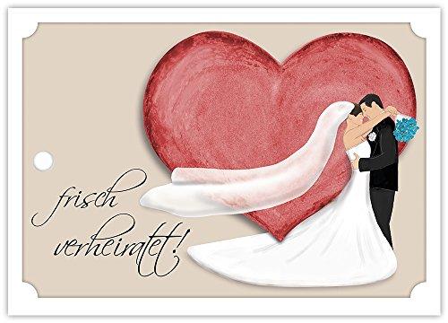 Ballonflugkarten zur HOCHZEIT - 50 Stück - Frisch verheiratet - gelocht, schöne leichte Ballonkarten für einen weiten Flug im Postkarten-Format für Luftballons und Herzluftballons