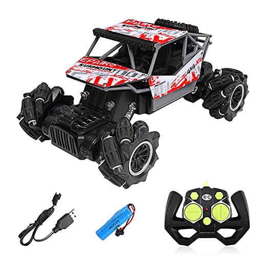 HGFDSA Camión De Vehículo Monstruo Todoterreno De 2,4 GHz, Coche Teledirigido De Escalada De Aleación 4WD, Drift Stunt Camión De Juguete Todo Terreno, para Niños Y Adultos,Rojo