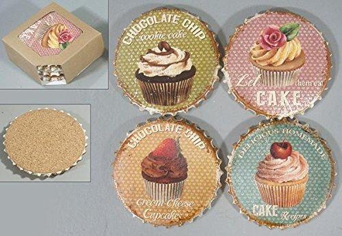 Lafinesse Denmark nostalgische Untersetzer im 4er Set Kronkorken Cupcakes