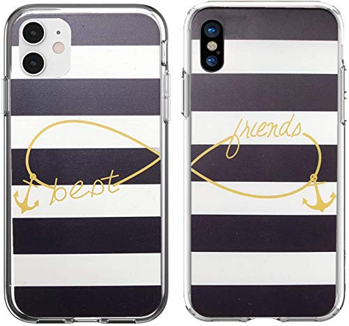 Shark Compatible Best Friends Style Infinity Best Friends Style with Anchor Matching Couple Cases for iPhone 11 Pro Max