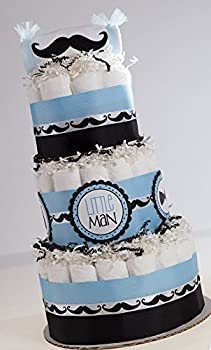 The   Classy Little Man  Mustache Diaper Cake Baby Shower Centerpiece or Gift.