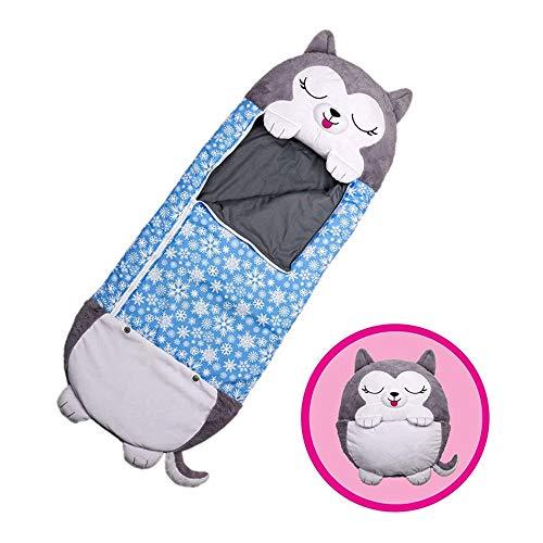 KOOYR Bolsas de dormir para niños con almohadas plegables, cálidas, para todas las estaciones, sacos de dormir con almohadas, súper suaves para todas las estaciones del año, para niños y niñas (azul)