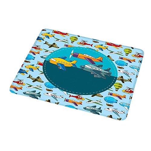 Office Mouse Pad Kinderparty, bunte Retro-Stil verschiedene Cartoon Flugzeuge Luftballons Zeppeline Jungen Kinder, mehrfarbig für Frauen