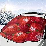 Temporada de Fresas Cubierta del Parabrisas 57.9X46.5 Pulgadas Se Adapta a la mayoría de Las camionetas o camionetas para automóviles Mantiene el Hielo y la Nieve apagados Cubierta de Parabrisas para