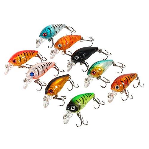 Señuelos de pesca duros, 9 piezas de señuelos de pesca Set de señuelos de pesca de plástico anzuelo lubina pequeña grasa Crankbait Topwater Hard Baits Minnow Crankbait aparejos de pesca accesorio 4,5