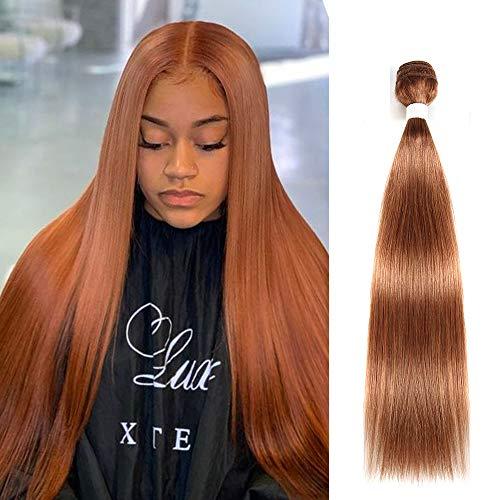 X-tress Straight Brazilian Remy Hair Light Brown Bundle Color 30 Hair Weave Human Hair Extension Ginger 100% Virgin Human Hair Weave (24 Inch)