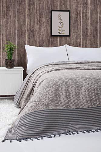 Atil Tagesdecke Überwurf Decke - Wohndecke hochwertig - ideal für Bett und Sofa, 100% Baumwolle - handgefertigte Fransen, 200x250cm (Beige)