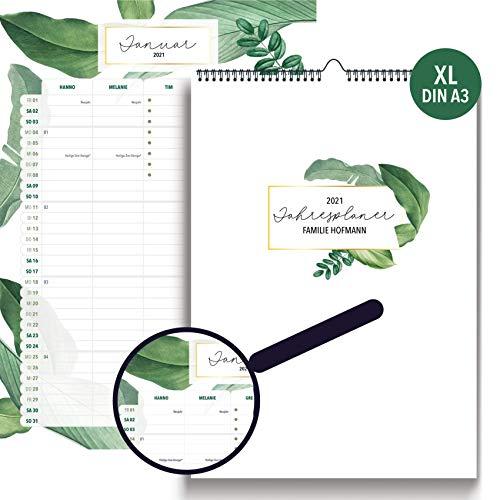 Familienplaner XL personalisiert A3 I GREEN Terminplaner Wandkalender 2020 2021 heaven+paper® I 5 Spalten mit Namen & Feiertagen I Monatsplaner mit Ferienterminen DE/Österreich, Mondphasen