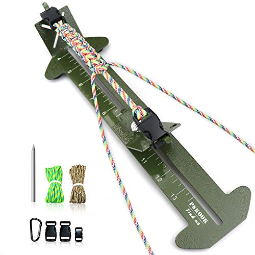 PSKOOK Paracord Bracelet Jig Kit Paracord Tool Kit Adjustable Length Weaving DIY Craft Maker Tool 4 to 13(Army Green)