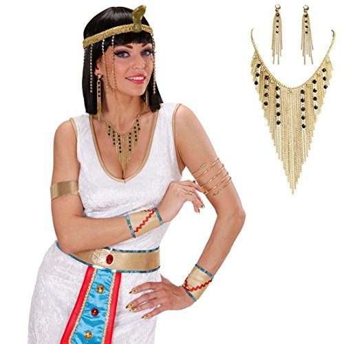 NET TOYS Conjunto de joyería egipcia aretes y Collar de Nefertiti Diosa Cadena Oro Pendientes Cleopatra