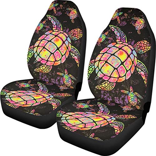 Coloranimal Hawaiian Tribal Sea Turtles Tropical Hibiscus Compatible Seat Covers Car Accessories Size Universal Fit for Most Cars SUV Truck