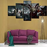 ZhuHZ 5 Piezas de Anime Hell Painting Canvas Poster Living Room Decoration Set of Modular Frame Wall Art HD Print Pictures