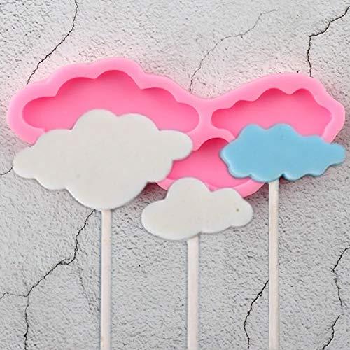 FGHHT 3D Cloud Silikonformen Lollipop Cupcake Topper FondantformGeburtstagstorte Dekorationswerkzeuge Candy Chocolate Gumpaste Moulds