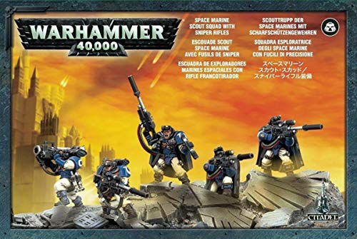 Games Workshop Warhammer 40k Model Miniatures - Space Marine Scout Squad w/ Sniper Rifles