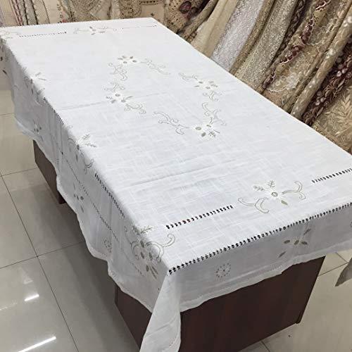 Kpoiuy Tejido De Mantel Bordado De Hilo Dibujado A Mano Mantel De Lino De AlgodóN Liso Toalla De Cubierta MúLtiple 180 * 270CM Blanco