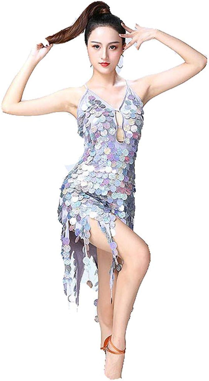ff806c3253a Latin Dance Clothes Women Dancewear Backless Sleeveless Circle Coins Sequin  Tassels Ballroom Samba Tango Latin Dance