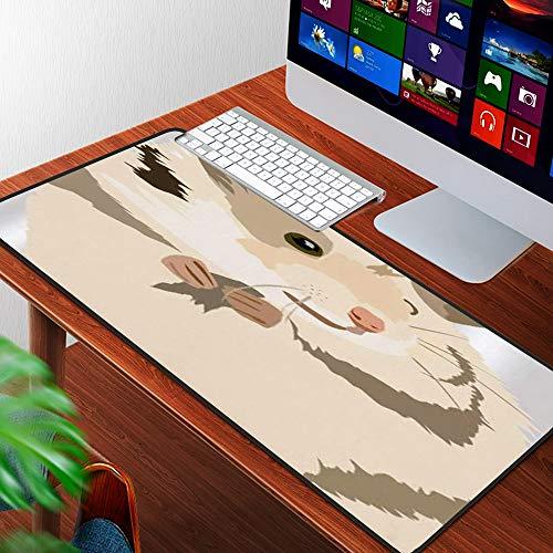 Luoquan Alfombrilla Raton Grande Gaming Mouse Pad,Lindo Hámster Gordo Dibujado A Mano Garabatos,Lavable, Antideslizante Diseñada para Gamers, Trabajo de Oficina